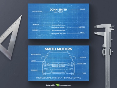 Car blueprint business card ruler template design blue photoshop business card blueprint car