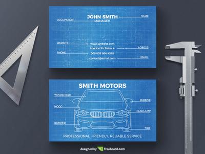 Car blueprint business card by freebcard dribbble car blueprint business card colourmoves