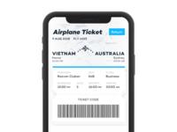 Airplane travel ticket