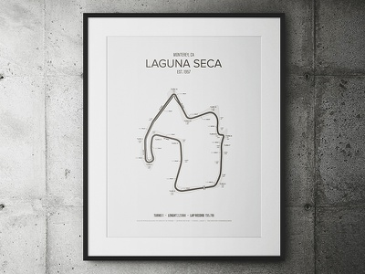 Laguna Seca Garage Poster cars track race outline poster minimal map