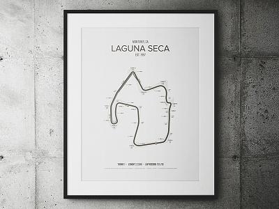 Laguna Seca Garage Poster cars track race outline poster minimal map