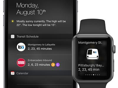 Transit App Concept muni bart transit glance apple watch notification center ios widget
