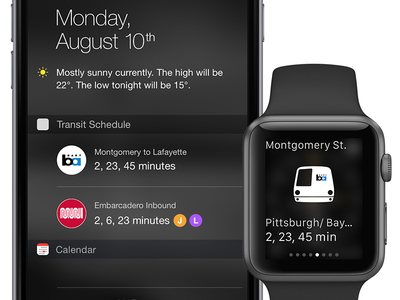 Transit App Concept muni bart transit glance apple watch notification center ios widget