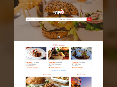 Yelp Home Page Redesign reviews ratings restaurants food redesign home page yelp