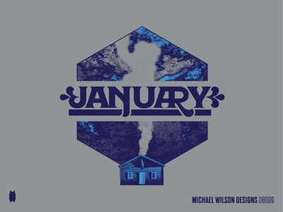 Queen City Calendar - January nature design typography pattern vector screenprint printmaking print