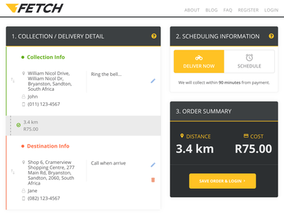 1Fetch Delivery App ux design ux app ui web design