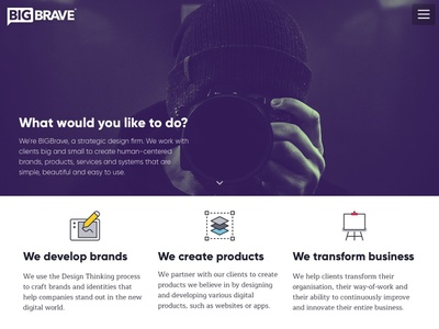 BIGBrave Website strategy user experience user center design gatsby animaiton ux design ux branding ui react web design