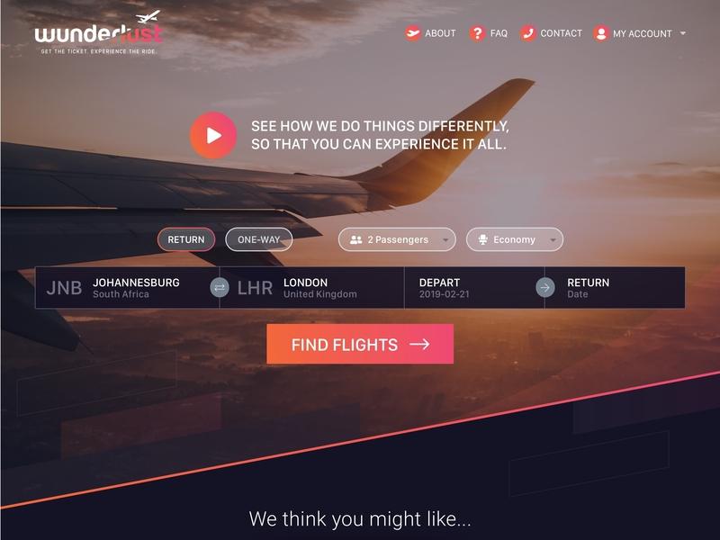 Wunderlust Travel Homepage ui design web