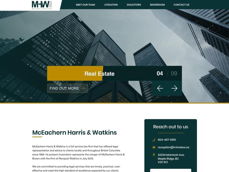 Law Firm homepage design ui react design web