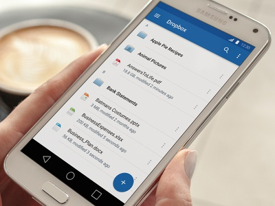 File List View android files dropbox ui ux material mobile app file browser