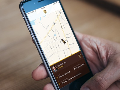 UPS Real Time Delivery Tracker uber map ios iphone app package tracker mobile flat ux ui ups