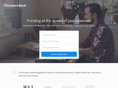 Bank Landing Page finance fintech loan business clean flat form home landing banking