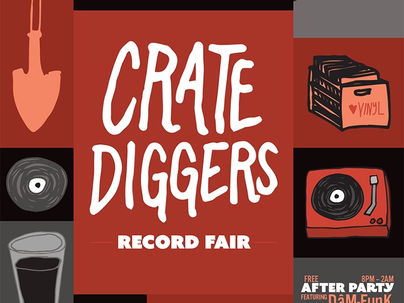 Crate Diggers Record Fair Poster discogs vinyl doodles lettering music hand drawn