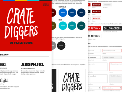 Crate Diggers Style Guide typography discogs vinyl style guide ui