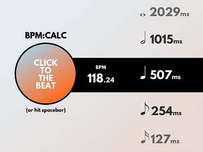 BPM Calculator tablet webapp simple clean gradient minimal calculator 004 dailyui