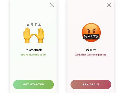 Flash Messages (Success and Error) gradient minimal emoji flash message error success 011 dailyui