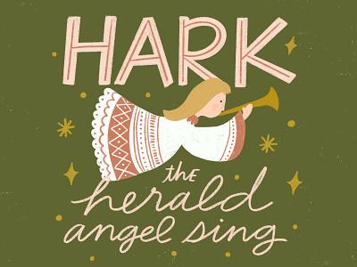 Hark! The Herald Angels Sing hymn angel holiday cards holiday card christmas cards christmas card typography illustration challenge greeting card handwriting winter illustration design hand drawn drawing design christmas holiday lettering handlettering illustration