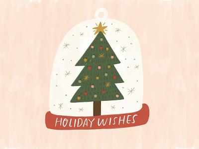 Holiday Wishes christmas tree snow globe holiday cards christmas cards christmas card greeting card winter illustration design hand drawn drawing design christmas holiday lettering handlettering illustration
