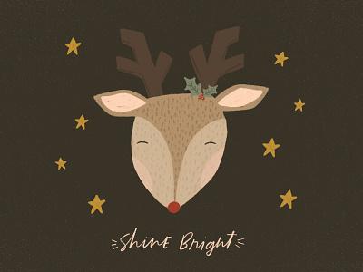 Shine Bright deer rudolph reindeer handwriting christmas card christmas cards illustration challenge greeting card illustration design hand drawn drawing holiday christmas handlettering illustration