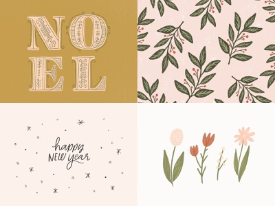 2018 Top Four Posts floral lettering typography illustration challenge handwriting design holiday drawing hand drawn christmas illustration design handlettering illustration
