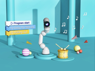 Bac Robot dance 音乐 舞蹈 插画 机器人 智能硬件 c4d