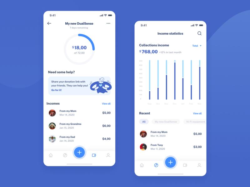 PiggyApp - Mobile iOS application borrow lend balance cash banking fintech modern piggybank savings money app design ui ux clean product mobile app collecting