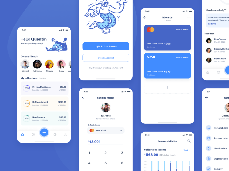 PiggyApp - Mobile iOS application - more screens borrow lend balance cash banking fintech modern piggybank savings money app design ui ux clean product mobile app collecting