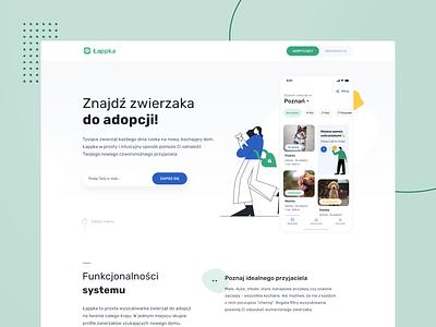 🐾 Łappka - Landing page finder blobs webdesign typography website adoption shelter pets web clean product design ux ui