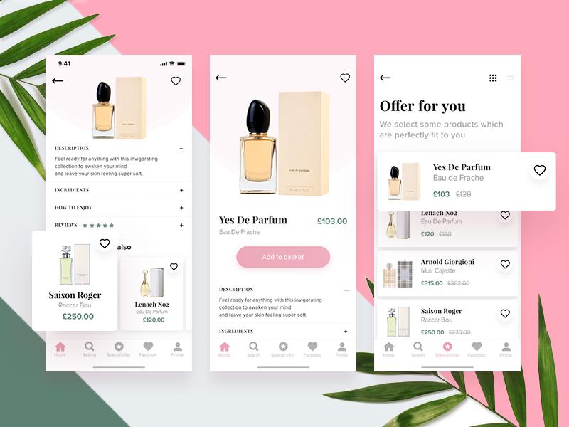 Perfumes Shop App Concept ux ui typography shop modern mobile minimal ios e-commerce cosmetics beauty app
