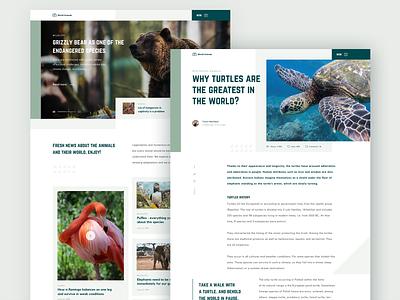 Animals Blog Design product website blog design animals blog typography clean web design ux ui