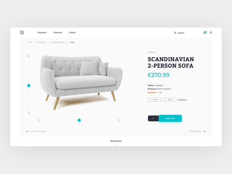Product page - concept design swipe furniture grey typography clean web ux design ui
