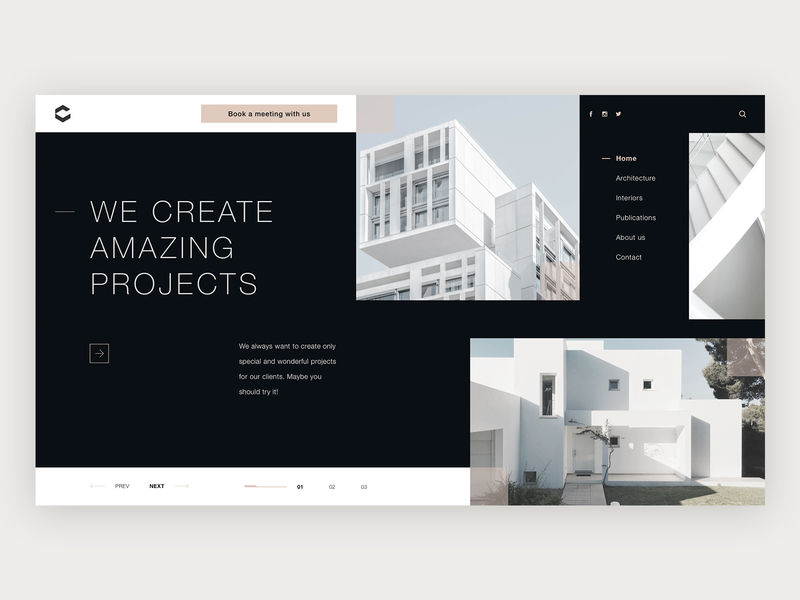 Architectural Studio design exploration web typography ui modern clean black  white grid training exploration website design architects