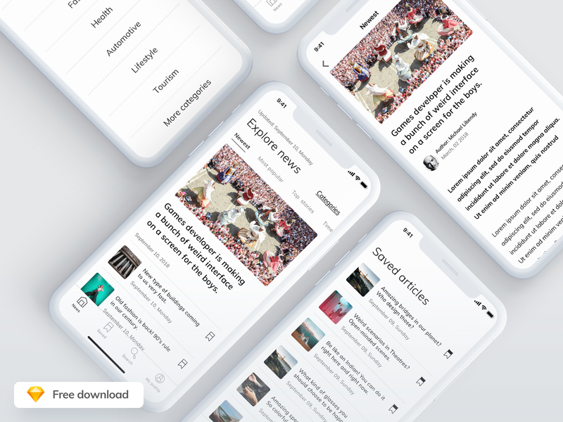 Articles Reader - Free Mobile iOS App download app freebie free clean design ux ui