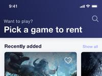 Renting games app ios app screen 1