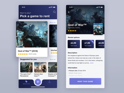 Concept app to rent a games