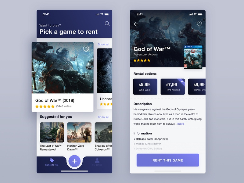 Concept app to rent a games renting console games product app clean design ux ui