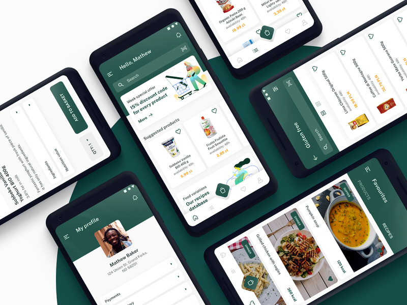 Healthy Food m-commerce app product android food health clean app design ux ui