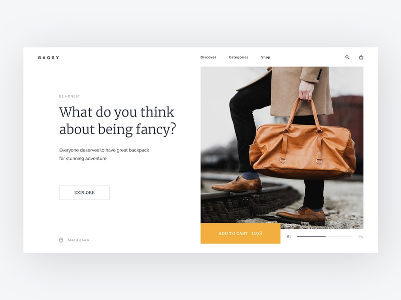Bagsy Home Page commerce homepage design home screen white space backpacks bags modern clean product typography web design ux ui