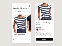 Clothing store dribble shot screens ios app