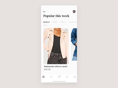 Clothing Store app - concept design animatedui animation principle ios typography app clean product design ux ui