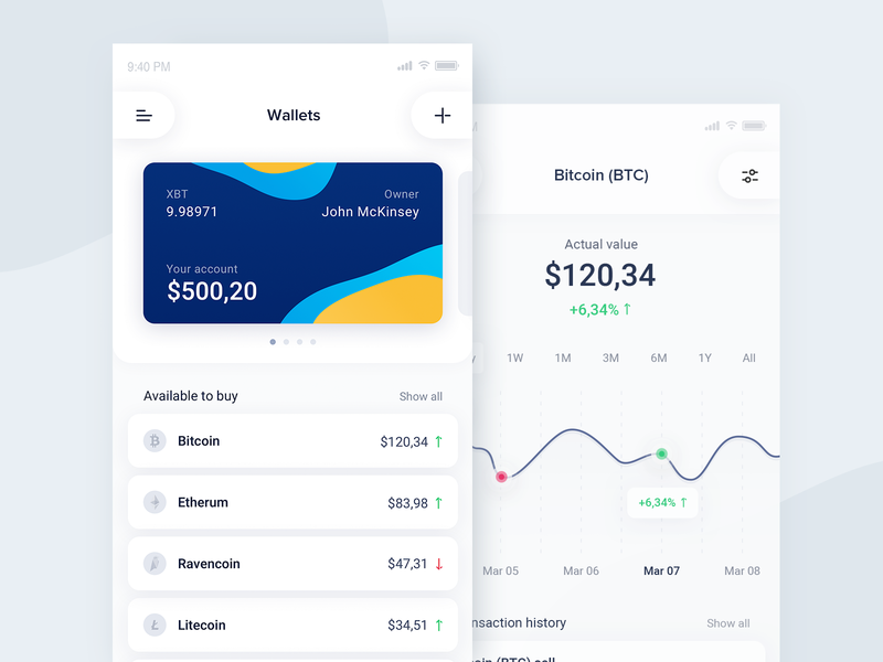 Cryptocurrency Exchange app concept bitcoin chart wallet blob modern screens mobile ios crypto crypto currency app design ux ui