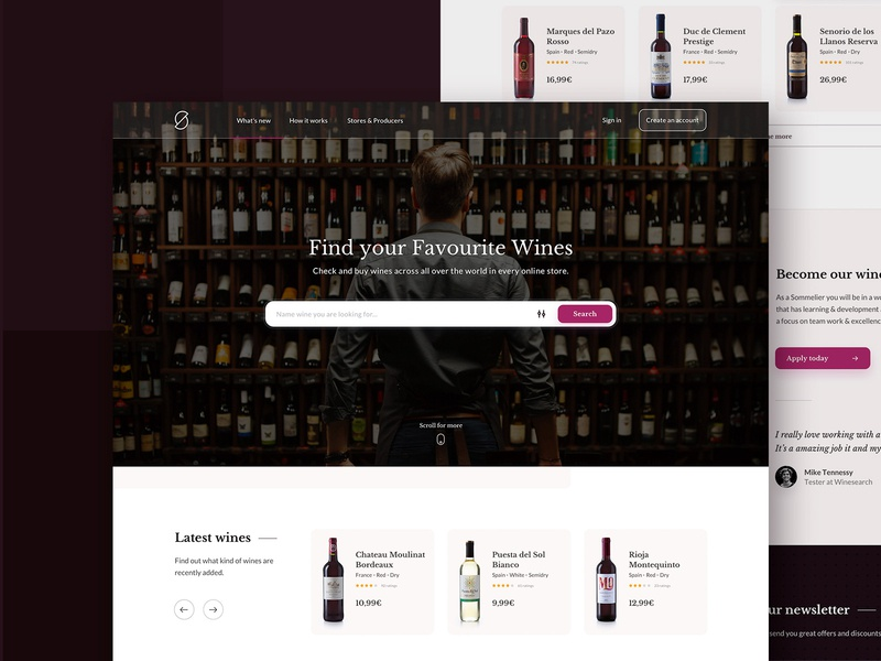 Winesearch website - homepage winsearch wine website web ux ui typography taste search people design clean categories