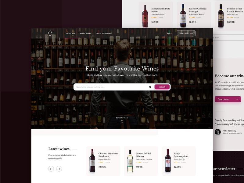 Winesearch website - homepage winsearch wine website web ux ui typography taste search people design clean categories