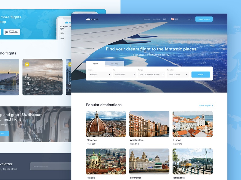 Azair homepage redesign adventure journey airplane flight web webdesign website ux ui product layout homepage clean travel blue