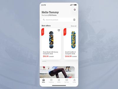 Skate shop app - eCommerce concept product typography loyalty white space grey jump desk skater skateboard skateshop skate ecommerce concept ios app shop modern ux ui design