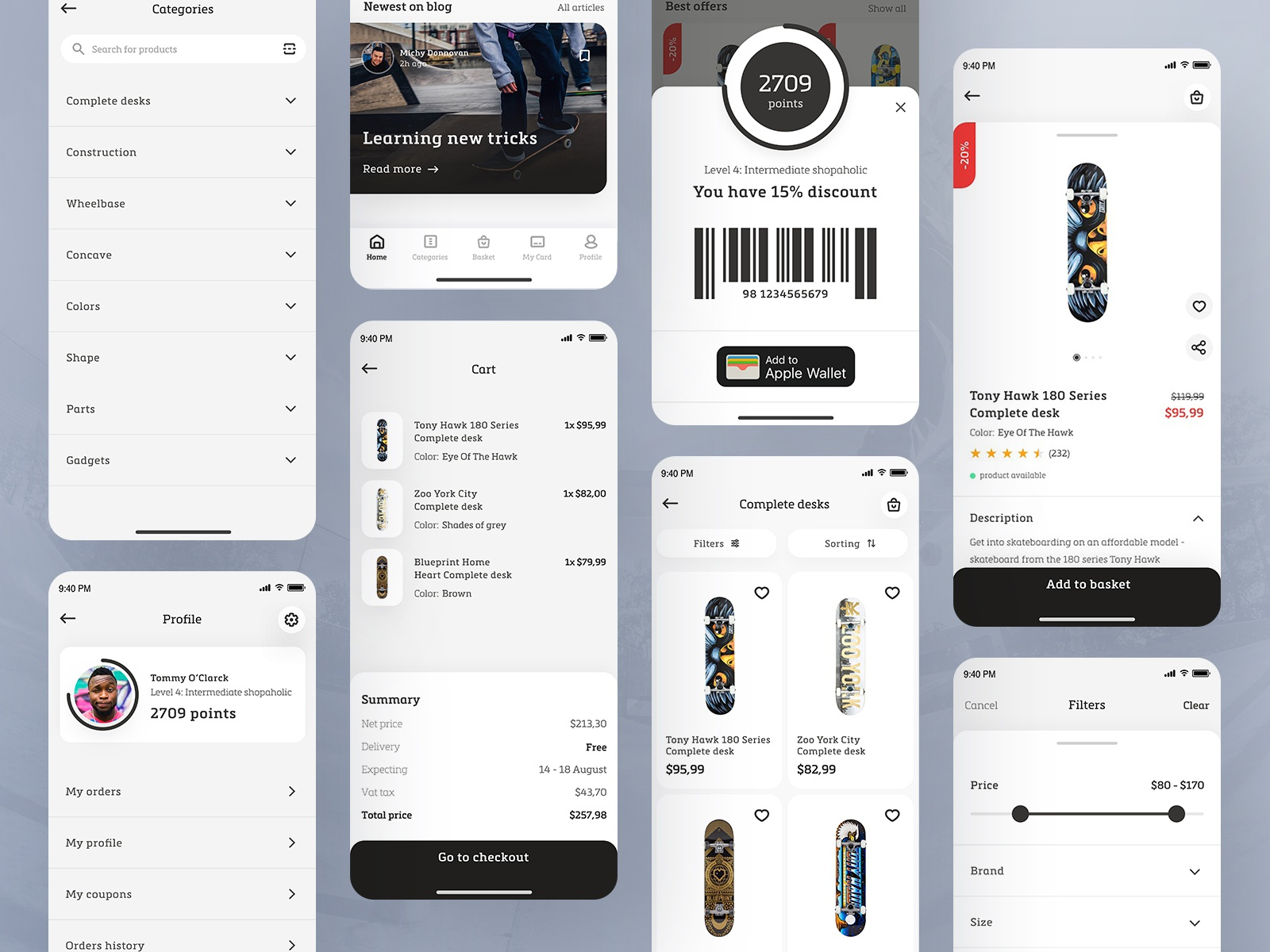 Skate shop dribbble shot most app screens ios