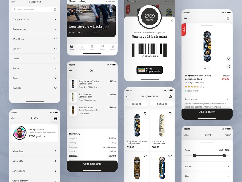 Skate shop app - eCommerce concept product typography loyalty white space grey jump desk skater skateboard skateshop skate ecommerce concept ios app shop modern ux ui design