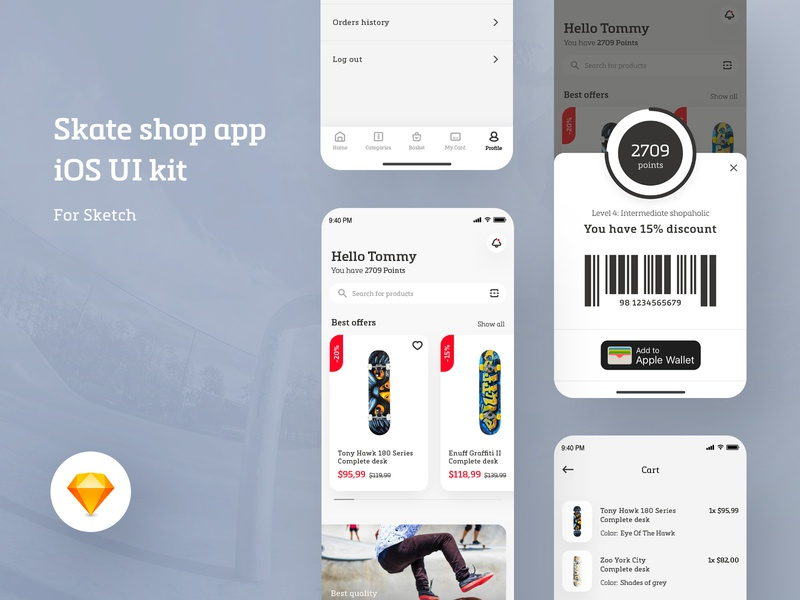 Skate shop app - eCommerce concept - iOS UI Kit Freebie design ui ux modern shop app ios concept ecommerce skate skateshop skateboard skater desk jump grey white space loyalty typography product