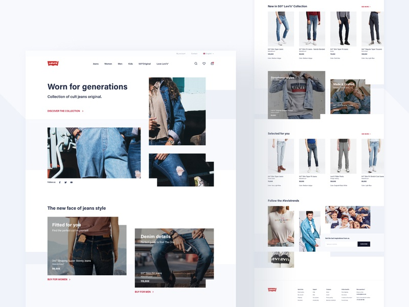 Levi's Store Concept - Homepage white space design product typography white grey webdesign web clothes ux ui shop concept redesign levis commerce