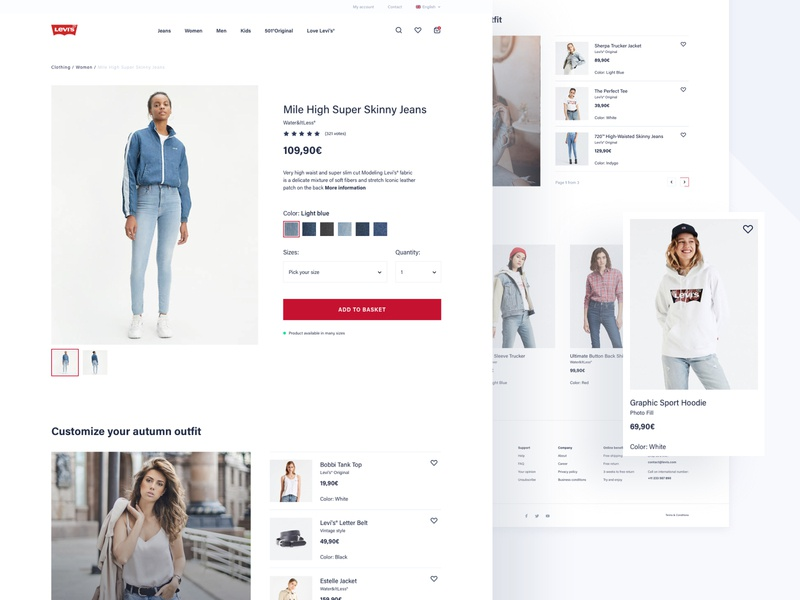 Levi's Store Concept - Product page product page product design white space white webdesign web ux ui typography shop redesign product mobile levis grey design concept commerce clothes
